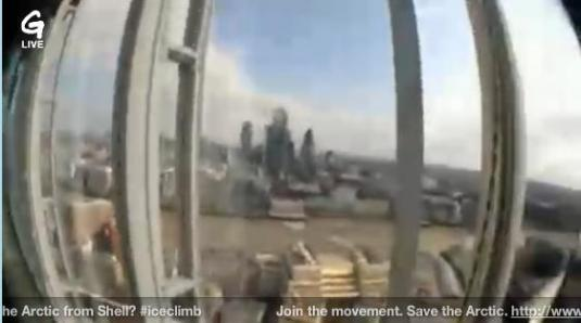 Greenpeace Live Streaming Ice Climb Shard London Helmet Cam