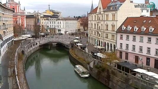 Ljubljana City Live Triple Bridge Ljubljanica River Webcam Slovenia