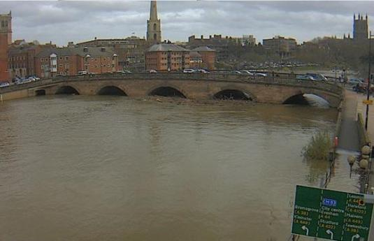 Worcester River Severn Flood Alert Weather Web Cam Worcestershire West Midlands