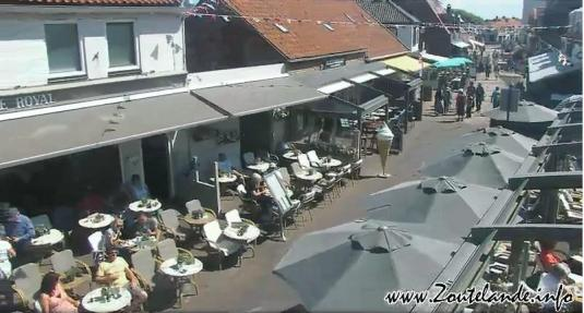 Zoutelande Town Centre People Watching Panorama Cam Netherlands