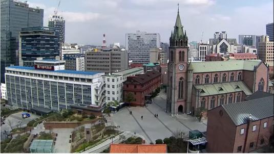 Seoul City Centre Live Myeongdong Cathedral Web Cam City of Seoul South Korea